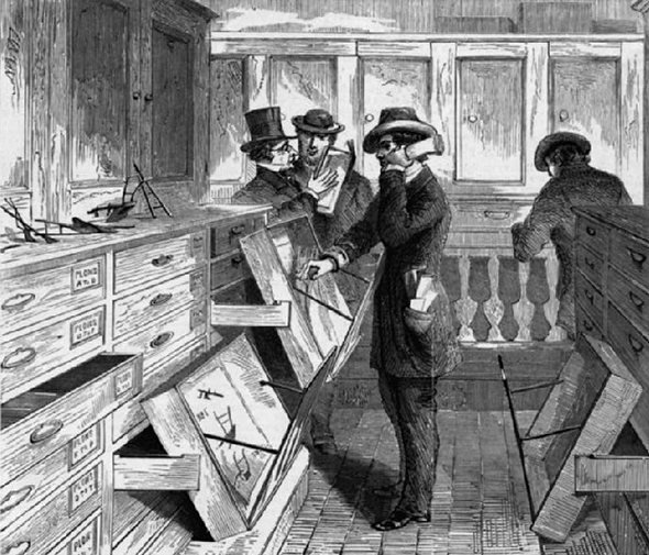 Black and white sketch of four Patent Office examiners working in an office and examining documents.