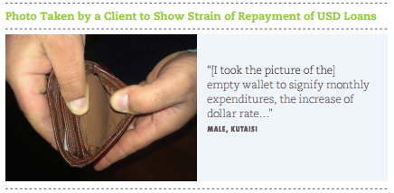 "This photo shows an empty wallet, and quotes MFI borrower Kutaisi as saying, ""I [took the picture of the] empty wallet to signify monthly expenditures, the increase of dollar rate..."""