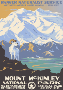 Vintage poster advertising Mt. McKinley National Park, shows a Dall's sheep in front of a mountain.