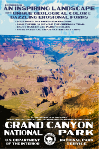 Vintage poster advertising Grand Canyon National Park; depicts a sweeping canyon and sky.