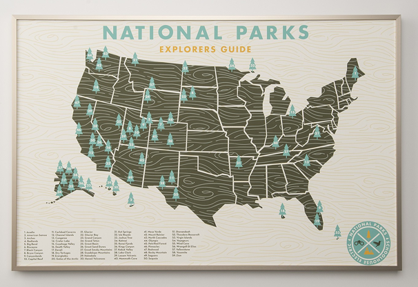 Map of US national parks, indicated with tree icon