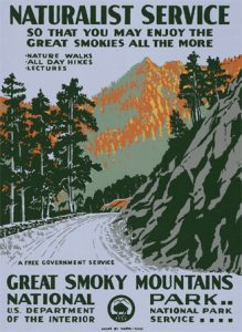 Vintage poster advertising Great Smoky Mountain National Park.