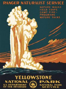 Vintage poster advertising Yellowstone National Park; shows the geyser Old Faithful spewing up into the sky.