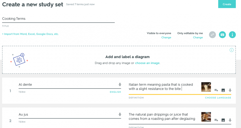 Screen shot that shows Quizlet interface with terms on the left, and definitions/images of those terms on the right.