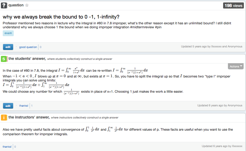 Screen shot of instructor and student answers in Piazza