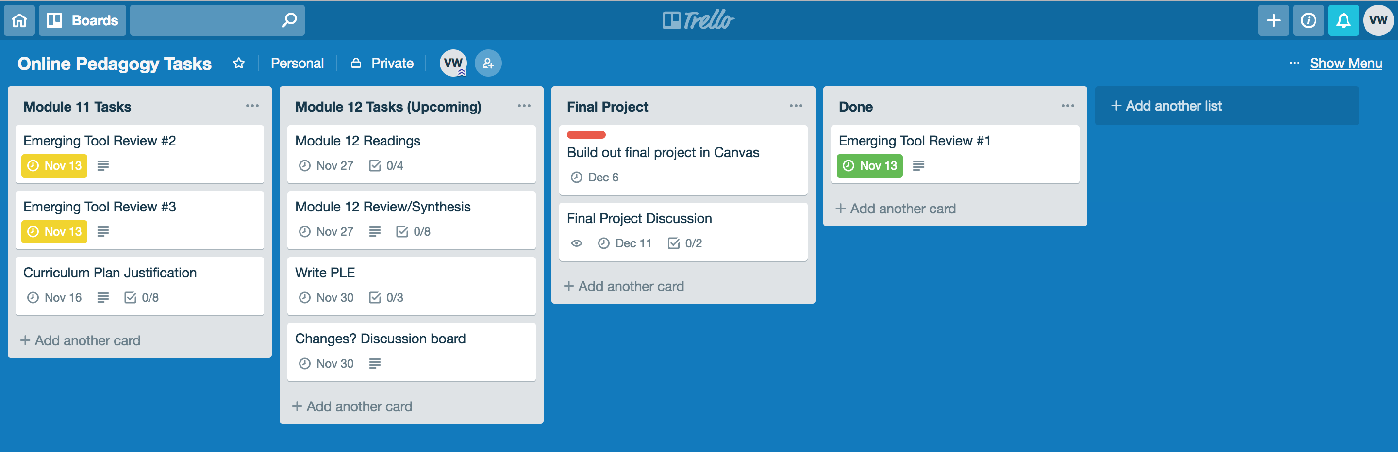 Screenshot of Trello boards